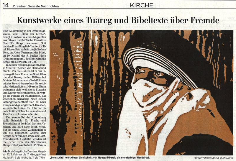 Ausstellungsankündigung in den Dresdner Neuesten Nachrichten